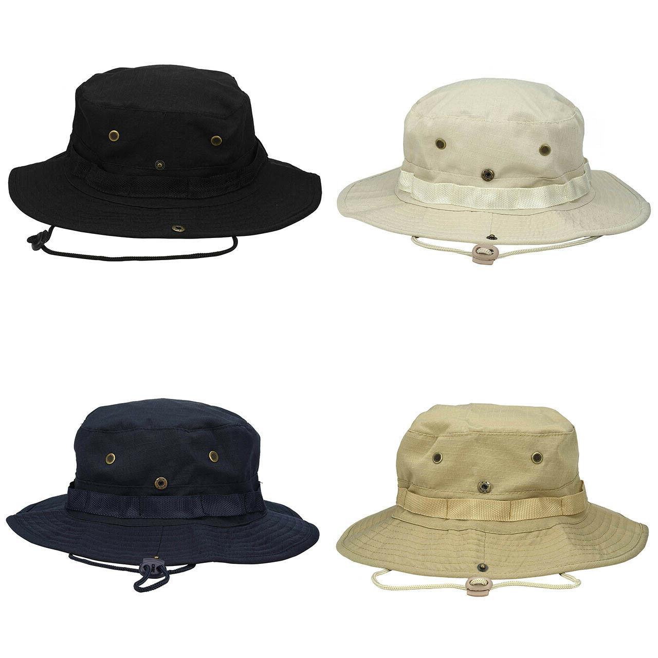 Mens Boonie Bucket Hat Safari Fishing Military Camo Brim
