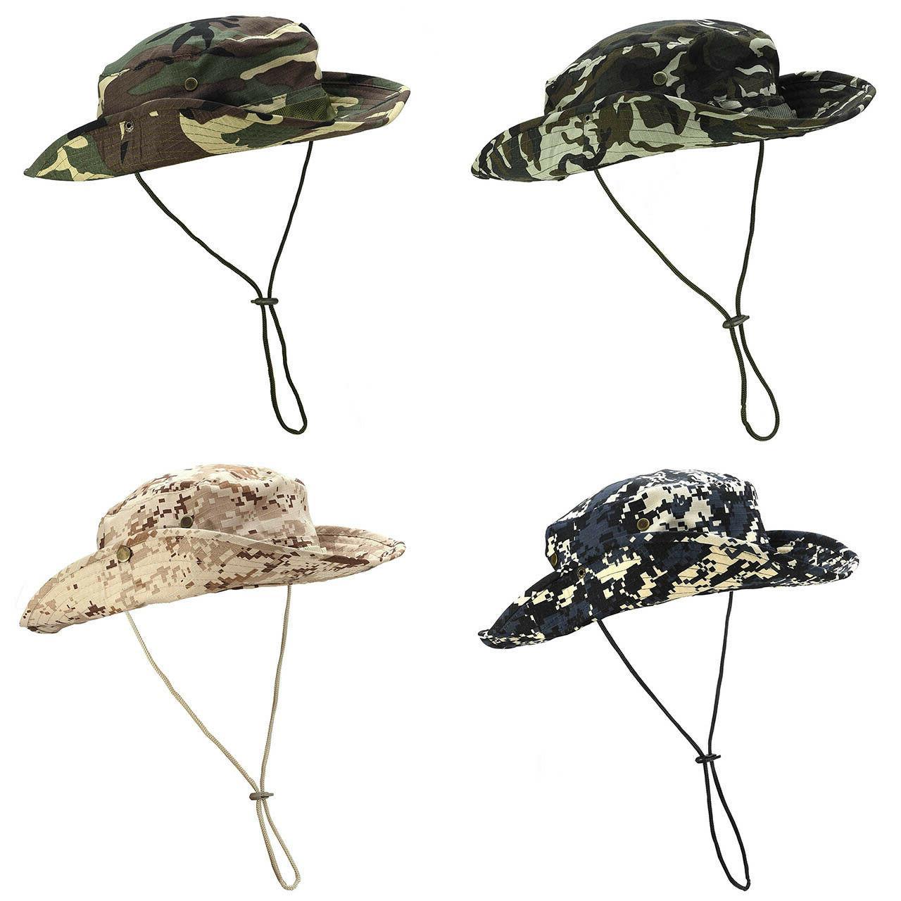 Mens Bucket Hat Safari Fishing Military Brim