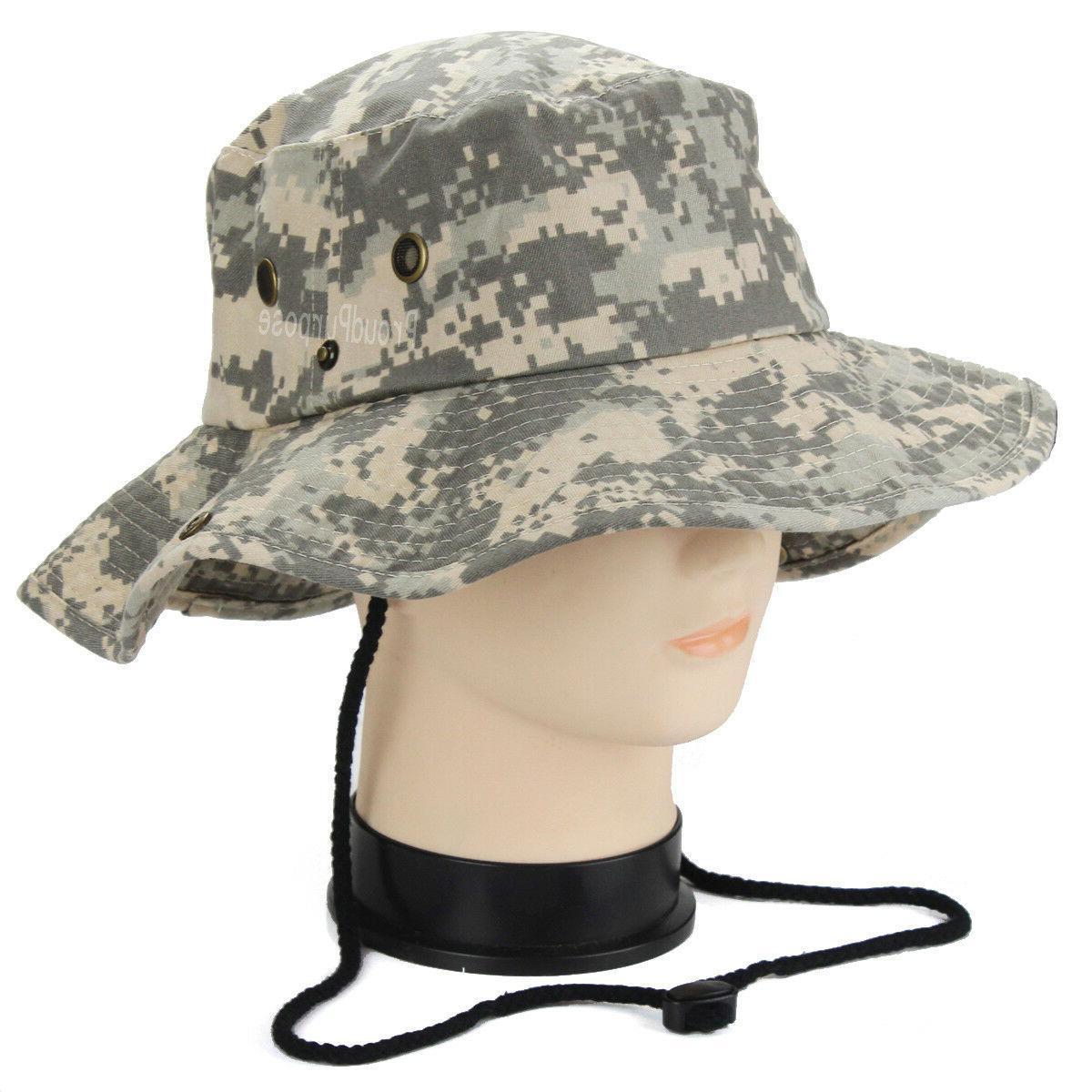 Mens Boonie Bucket Brim Camo Cotton Safari Military