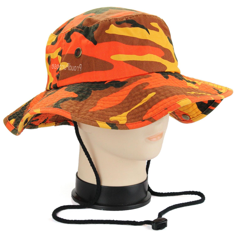 Mens Boonie Brim Savage Orange Camo Cotton Safari Military