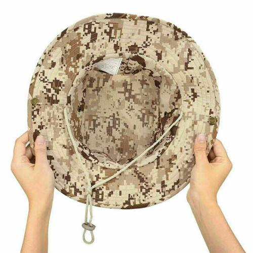 Mens Camo Boonie Bucket Hat Military Wide Safari Cap Fishing
