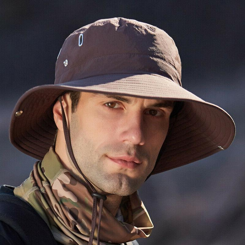 Mens Waterproof Sun Hat Outdoor Safari Wide 50+