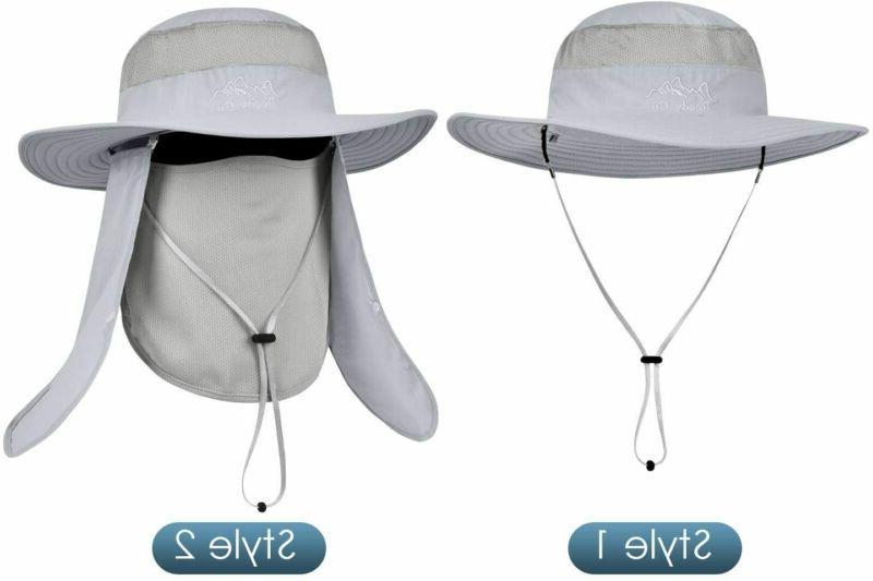 Mens Waterproof Sun Outdoor UV Bucket Safari Cap Brim