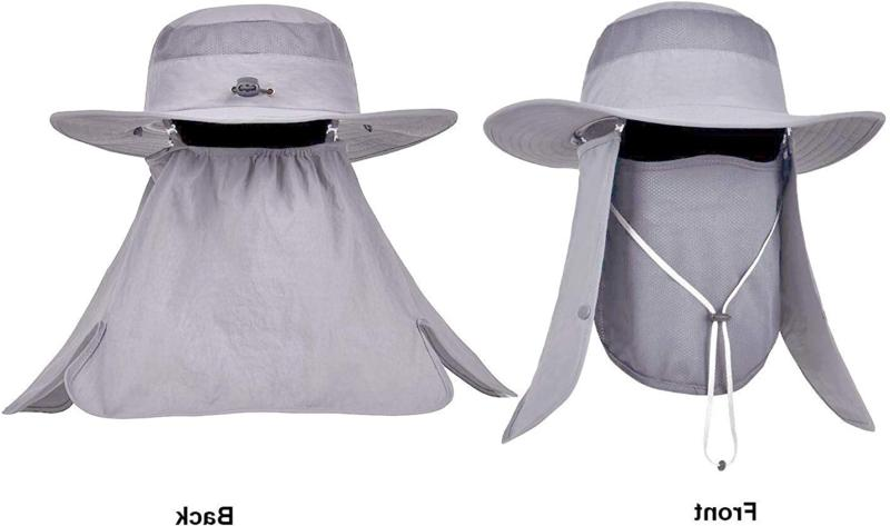 Mens Waterproof Outdoor UV Bucket Safari Cap Brim
