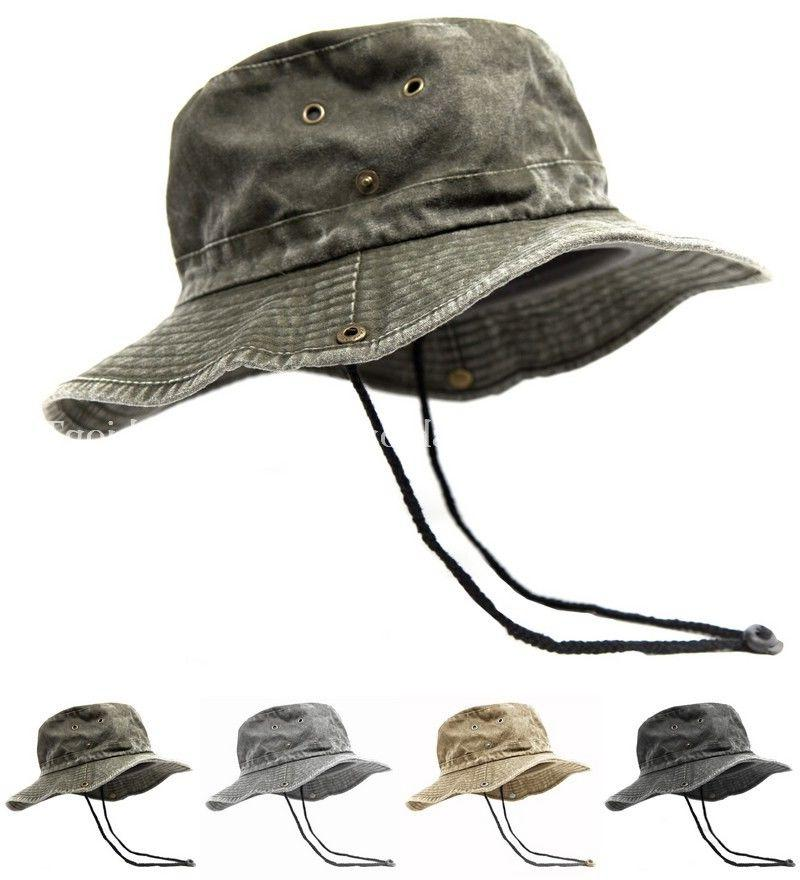 Mens Wide Brim Cotton Visor Boonie Bucket Hat Outdoor Summer