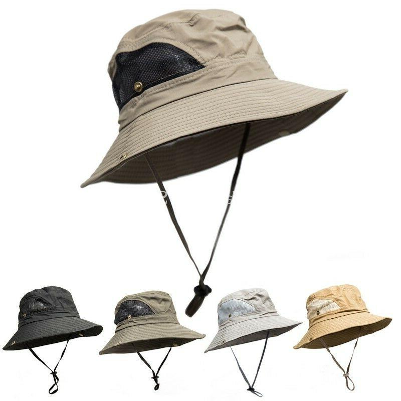 Mens Wide Brim Visor Boonie Bucket Hat Outdoor Summer Fishin
