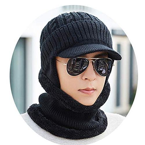 mens wool velvet knitted hat scarf winter