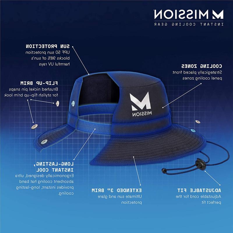 """MISSION Bucket Hat- UPF 50, 3"""" Brim,"""