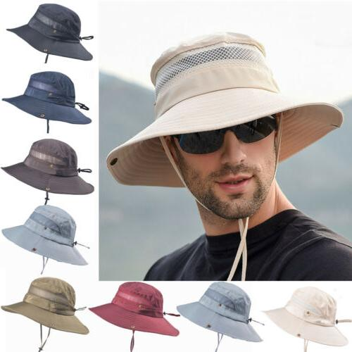 NEW Summer Mens Sun Hat Bucket Hiking Cap Wide Protection Hat US
