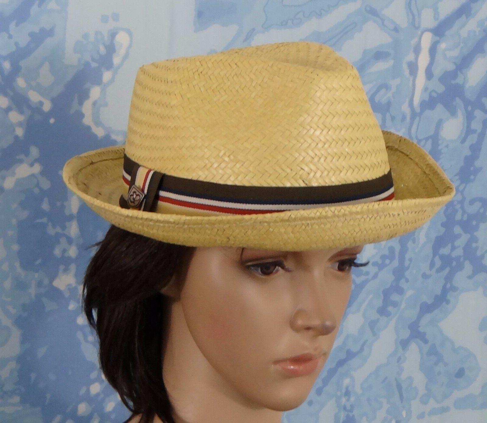 NWT Brixton Mens Castor straw Fedora Tan Hat, size XL