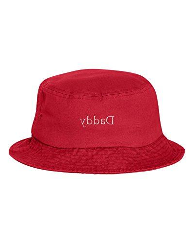 one size red adult daddy embroidered bucket
