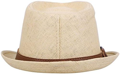 Simplicity Style Fedora Straw Sun Leather Belt,Natural