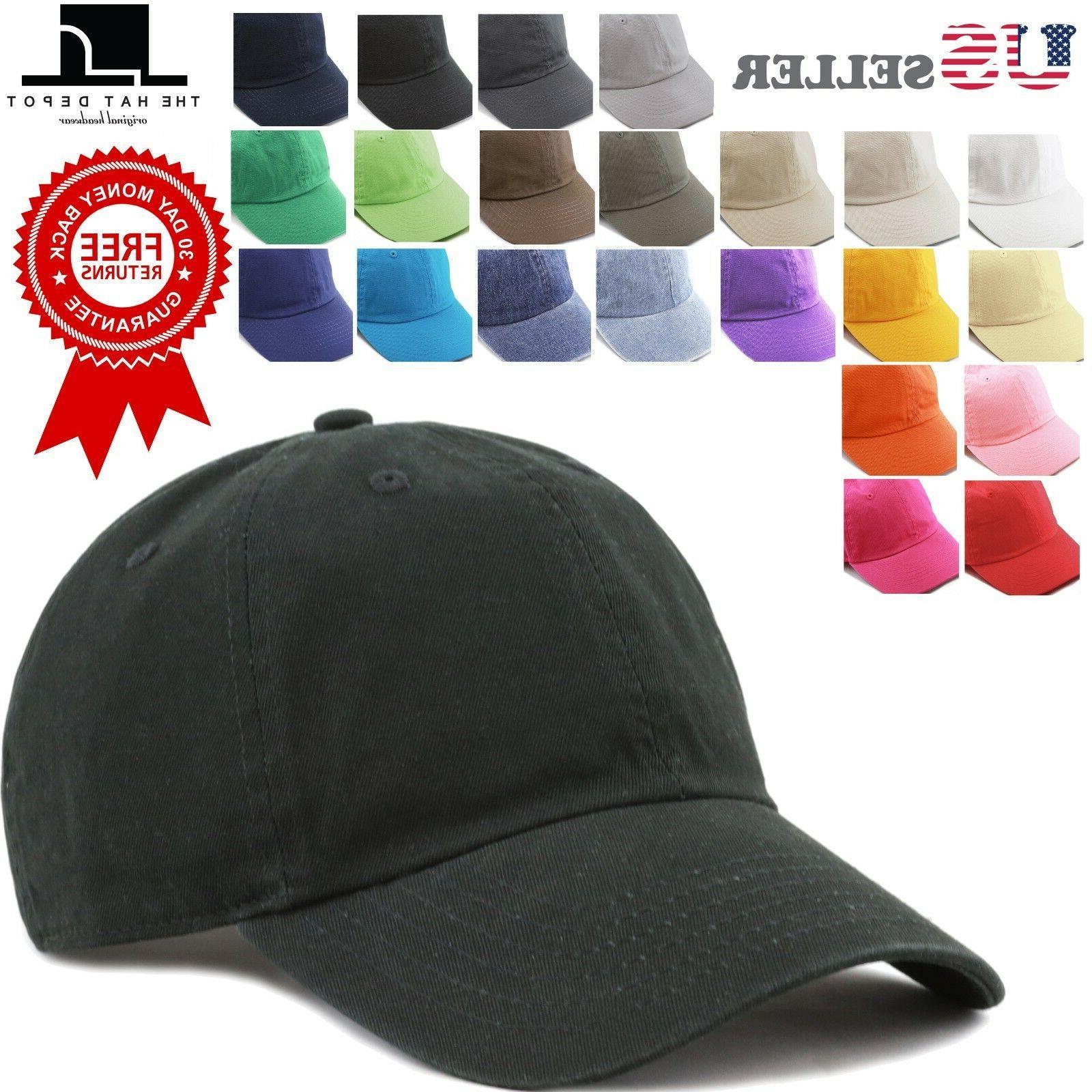 plain cotton baseball cap washed low profile