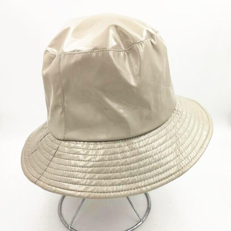 PU <font><b>Waterproof</b></font> <font><b>Bucket</b></font> <font><b>Hat</b></font> Women Rain Bobs <font><b>Hat</b></font> H3