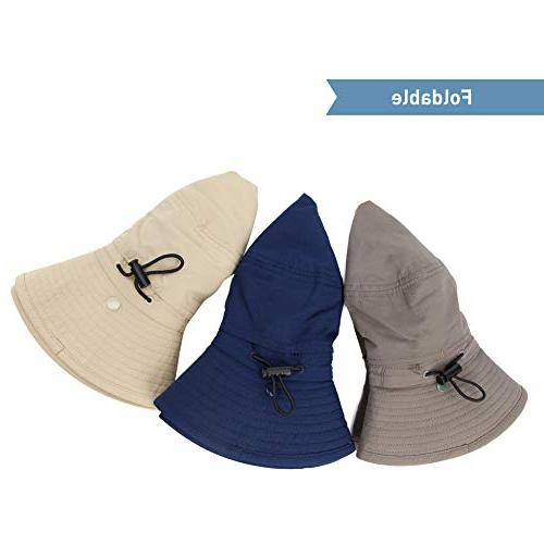 Fancet Mens Safari Flat Bill Blocker UPF50 Fishing Hat Navy