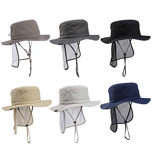 Fancet Flat Bill Sun Blocker UPF50 Bush Hat Navy