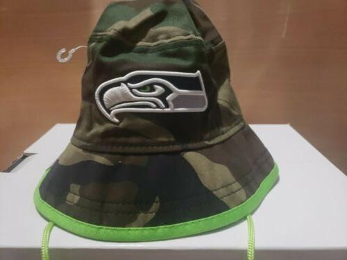 New Era Seattle Seahawk's Camo Pop Bucket Hat Cap Size L Cam