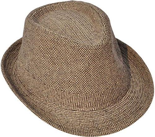 Simplicity Short Brim Hat 3071_Brown/Tan1