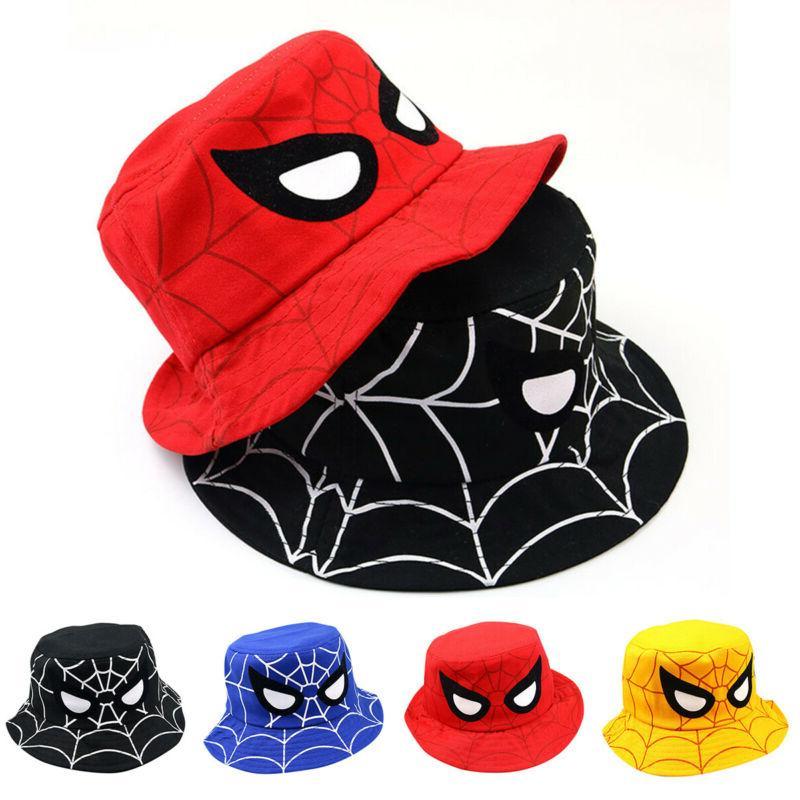 Kids Boys Girl Bucket Hat Wide Brim Sun Hats Beach Spider Ma