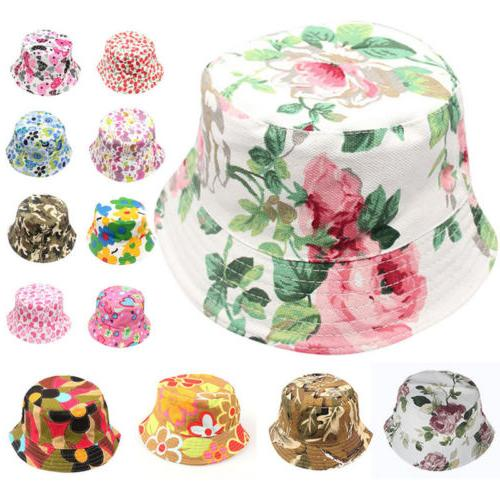 Summer Baby Kids Boys Girls Floral Boho Caps Beach Bucket Ha