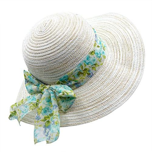 Home Summer Beach Wide Brim Paper Straw Hat with Bow
