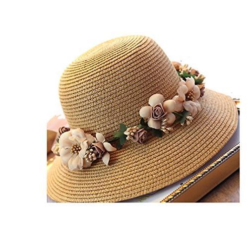 WKING crochet flower straw hat uv protection wreath hat foldable beach sunhat