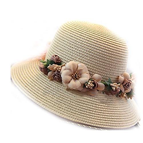 summer crochet handmade flower straw hat uv