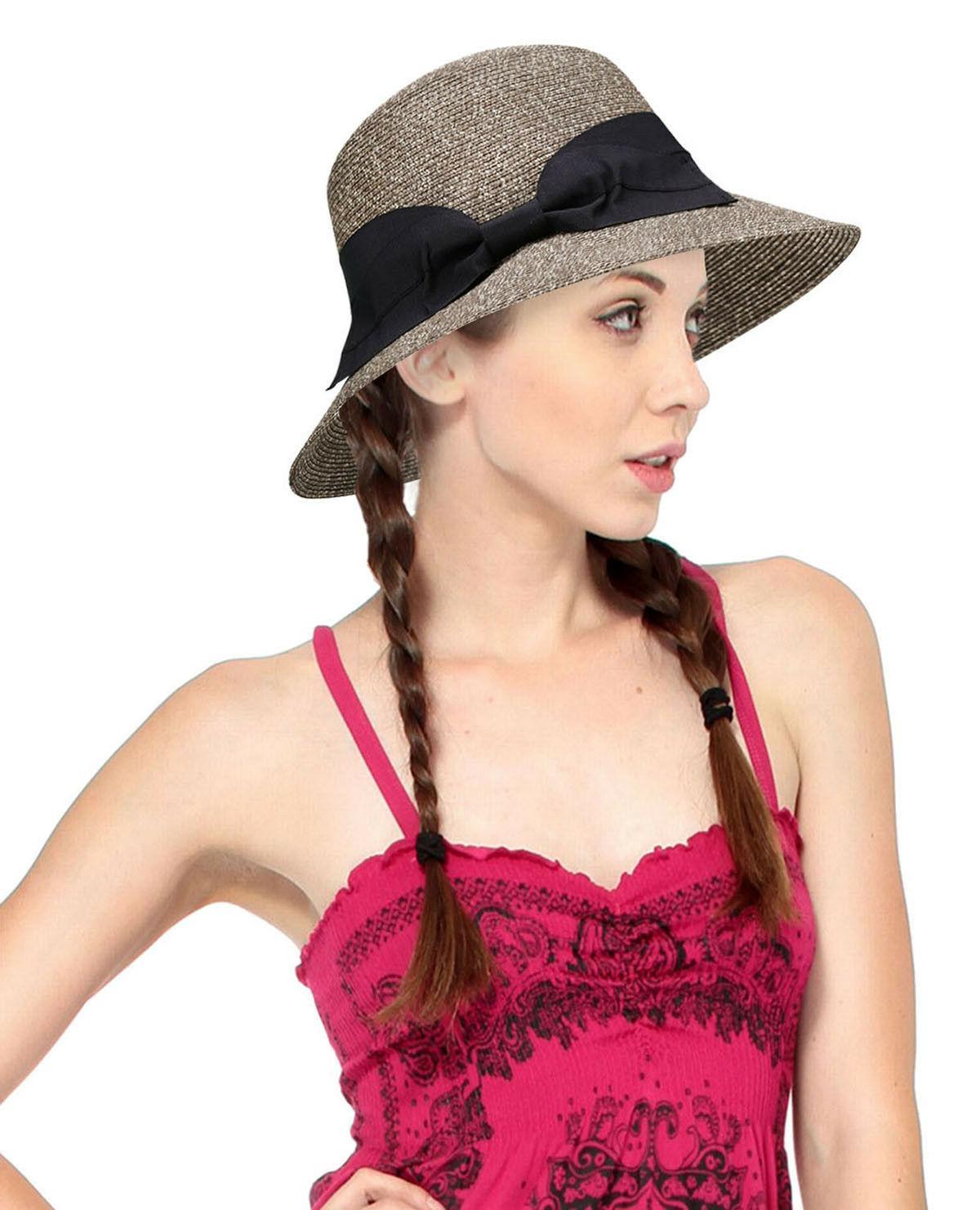 ladies women summer straw bucket hat wide