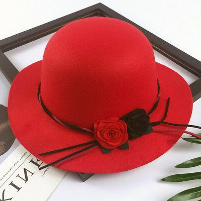 Toddler Boys Girls Wide Brim Hats Formal Flowers
