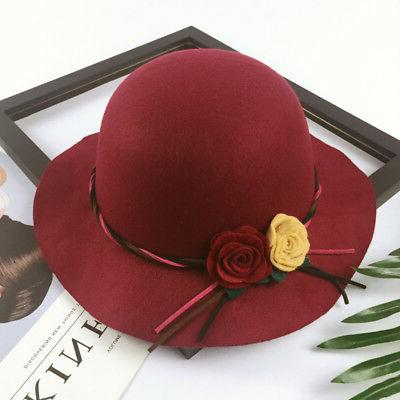 Toddler Boys Girls Wide Hats Woolen Formal Bucket Flowers