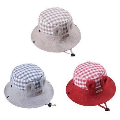 Toddler Girls Sun Hat Sun Beach Bonnet Plaid