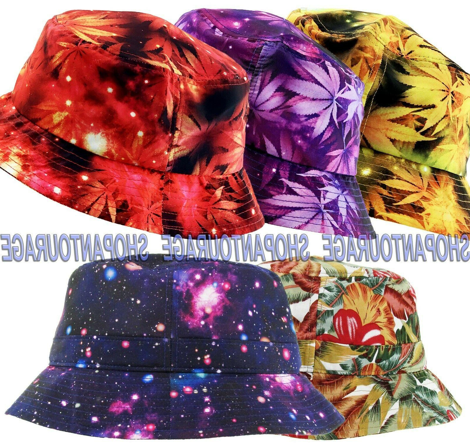 unisex bucket hat galaxy floral leaf tropical