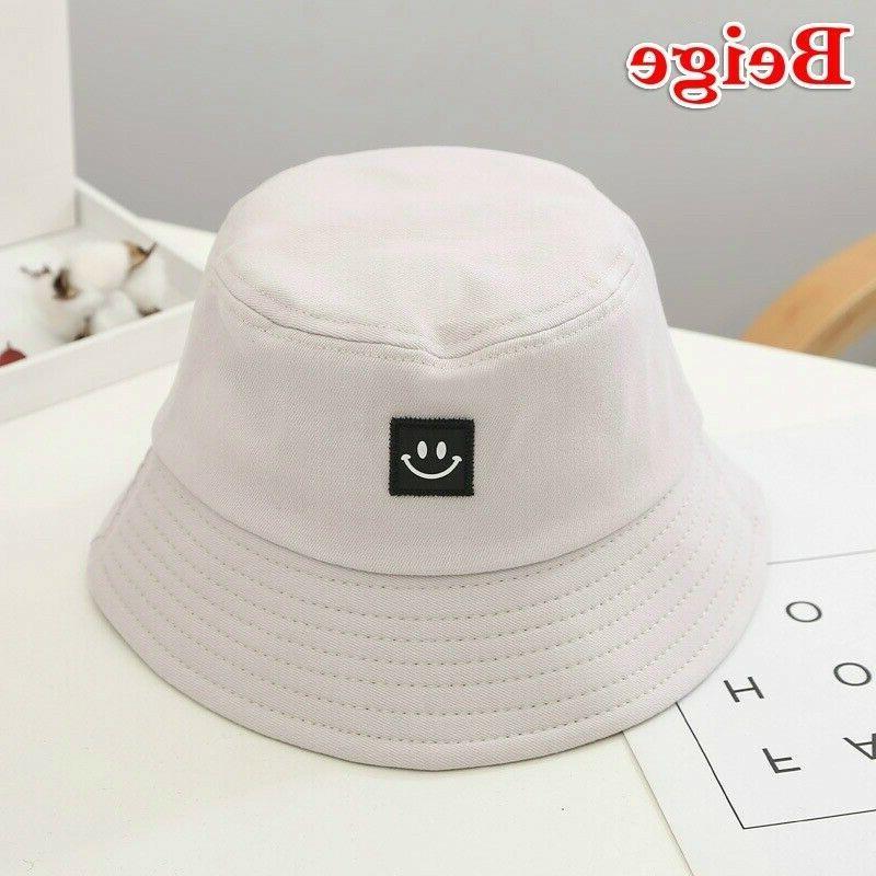 Unisex Foldable Bucket Smile Face Hats