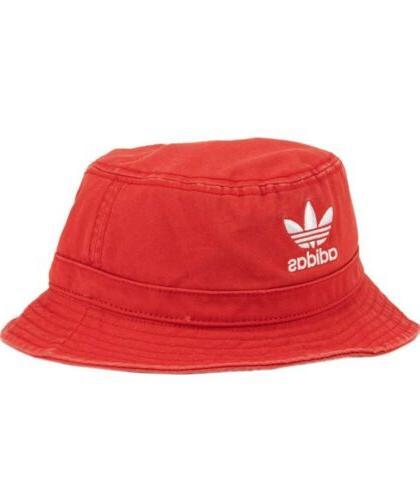 Adidas Unisex Originals Washed Bucket Hat Cap Lush Red/White
