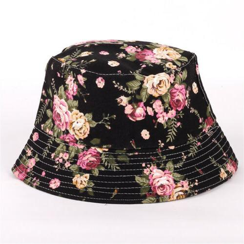 Womens Floral Bucket Hiking Camping Boonie Outdoor