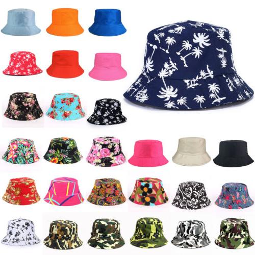 US Bucket Hat Boonie Hunting Fishing Floral Solid Cap Women