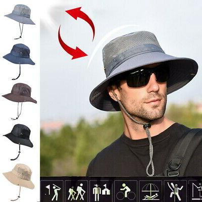 USA Men's Sun Hat Bucket Fishing Cap Hiking summer Hat Prote