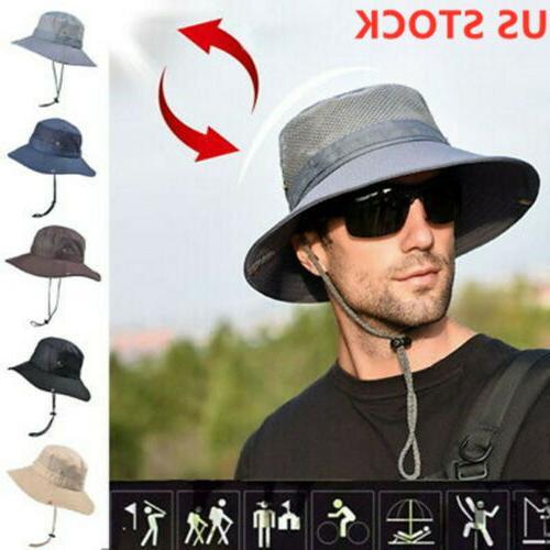 USA Men's Sun Bucket Fishing Hiking Cap Wide UV Hat summer