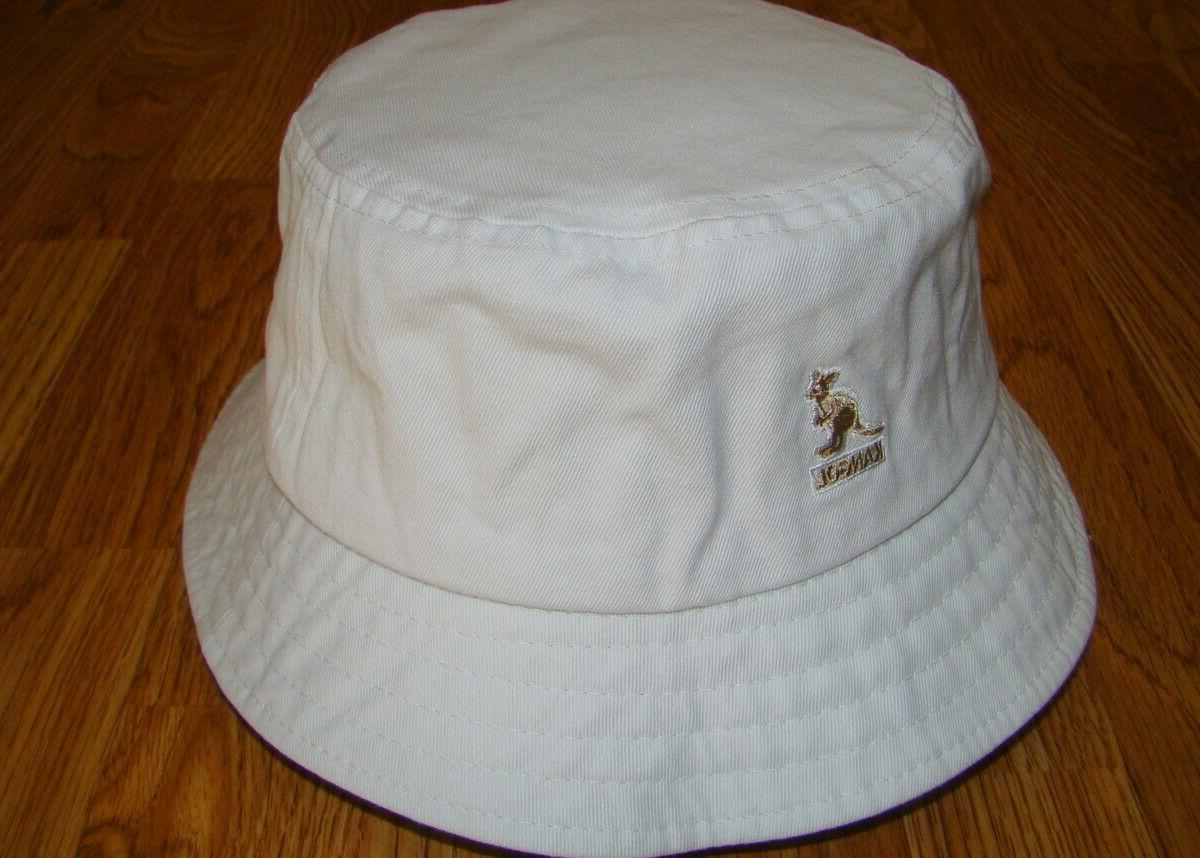 Mens Classic Kangol Washed Bucket Cap Color  White