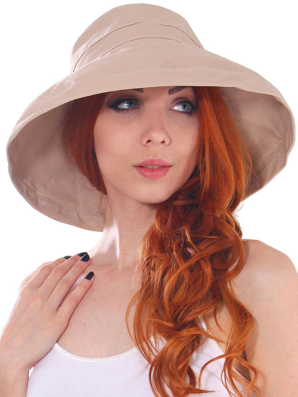 Women Bucket Hat Outdoor Cotton Foldable Summer Beach Sun Ha