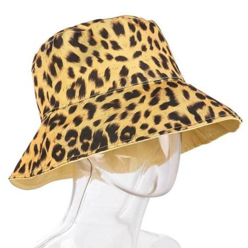 Women Leopard Double Sided Hat Fishing Camping Beach