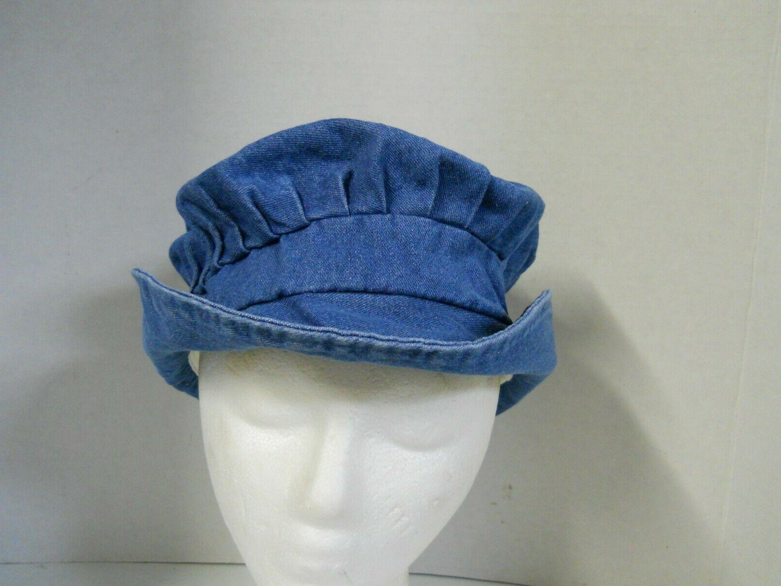 Women's Blue Pleated Bucket Sun Floppy Versatile M-L