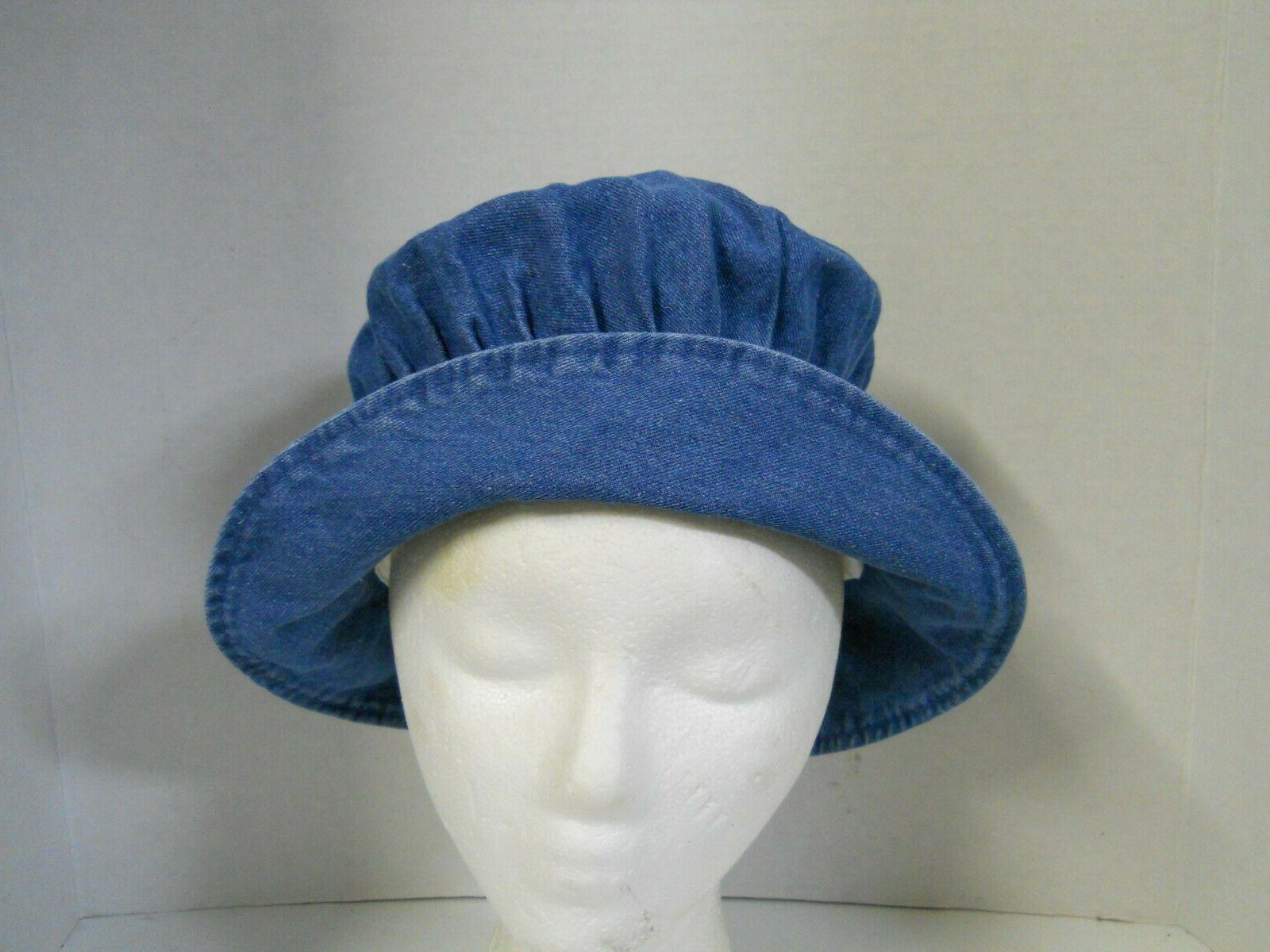 Women's Denim Bucket Hat Floppy Foldable M-L