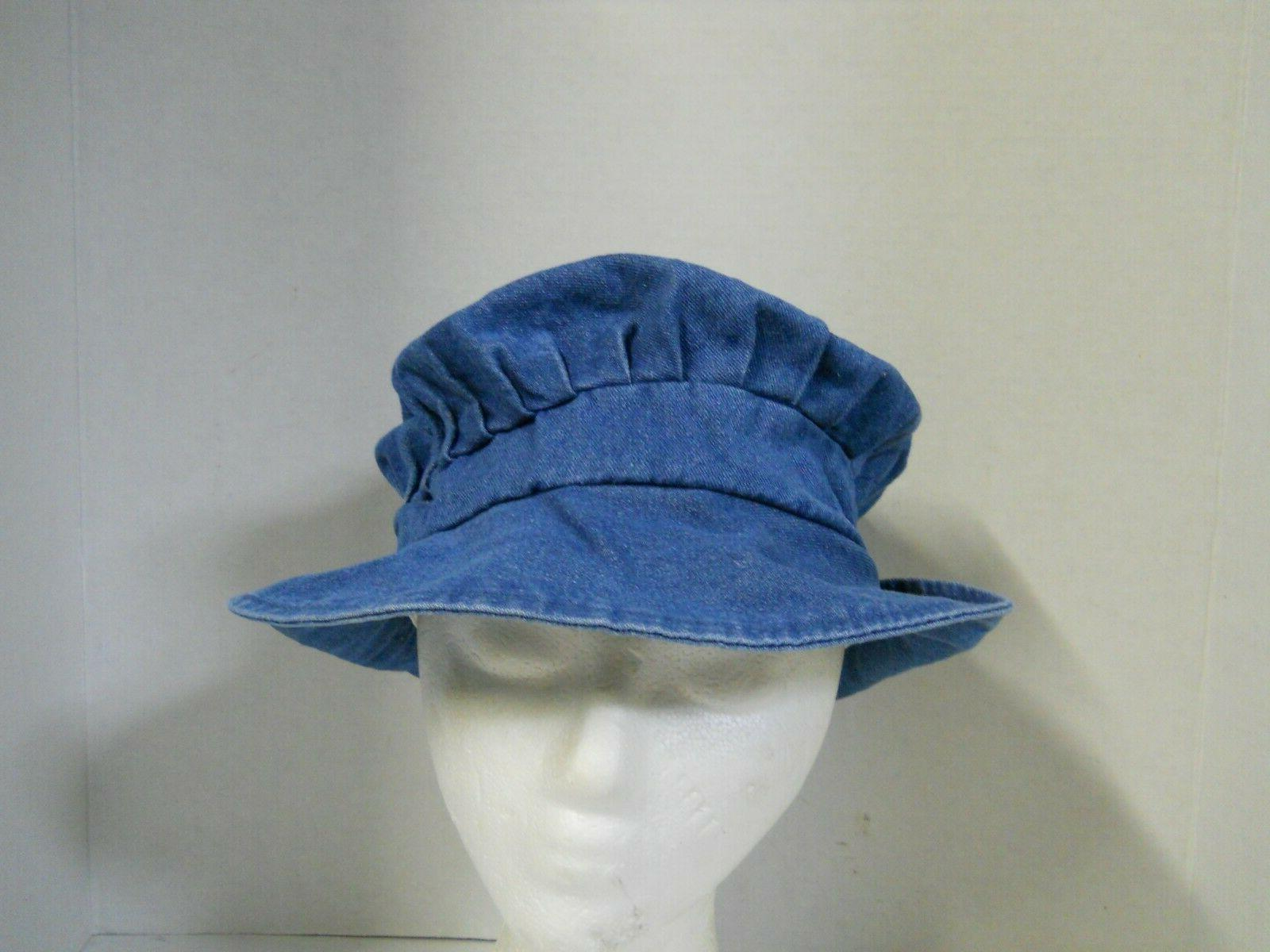 women s blue denim pleated bucket hat