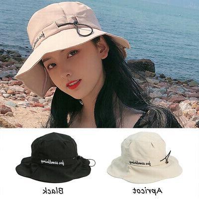 Women's Beach Hat Letter Ruffles Bucket