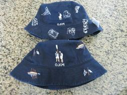Polo RALPH LAUREN L/XL Bucket Hat Oxford Club Reversible PWi