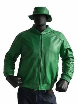"JakeWood Leather Baseball Men""s Jacket Green with Bucket Hat"