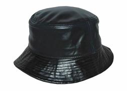 Newhattan Made In USA Genuine Leather Bucket Hat Black