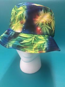KBETHOS MARIJUANA GALAXY BUCKET HAT WEED LEAF UNIVERSE SPACE