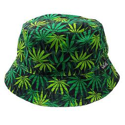 Marijuana Leaf Reversible Green/Black 100% Cotton Bucket Hat